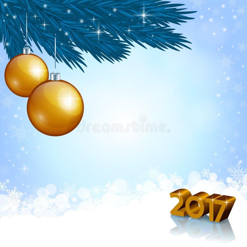 Nouveaux nombres de 2017 ans et décoration de Noël image stock
