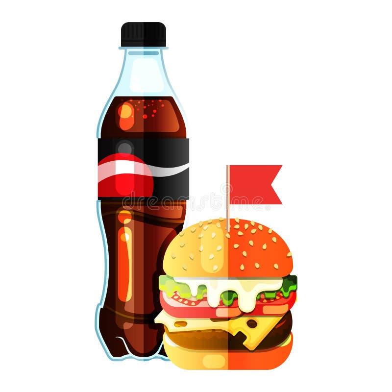Nouveaux soude et hamburger illustration de vecteur