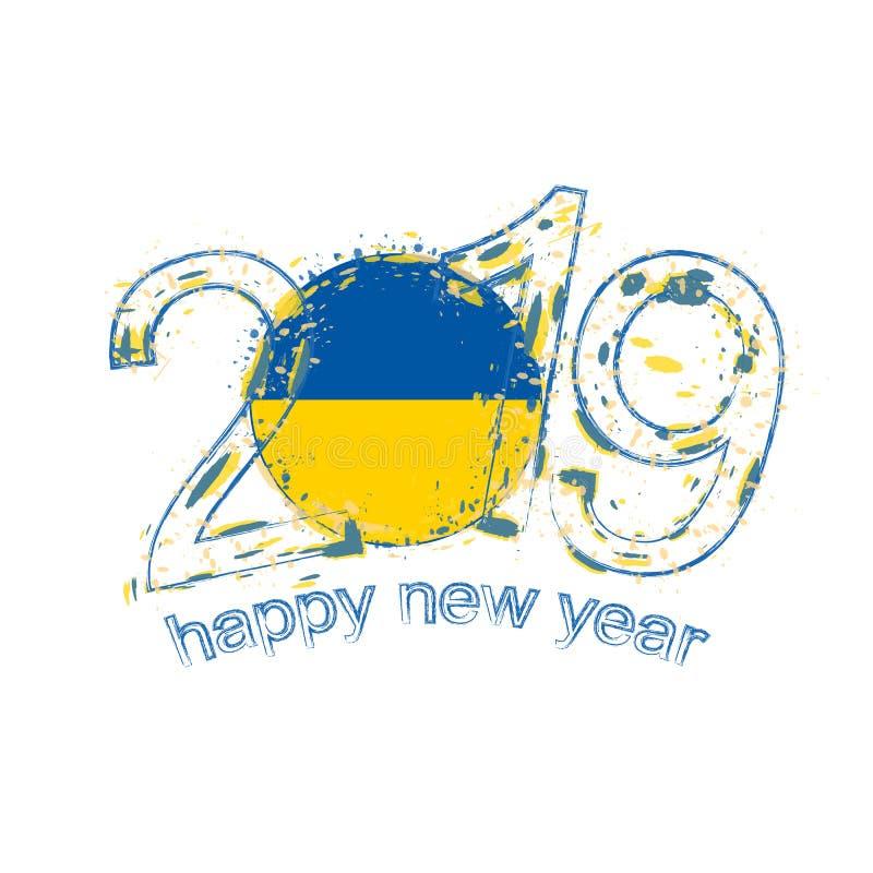 Nouvel 2019 ans heureux avec le drapeau de l'Ukraine Vecteur de grunge de vacances illustration libre de droits