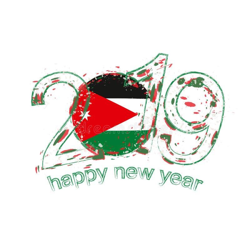 Nouvel 2019 ans heureux avec le drapeau de la Jordanie Vecteur grunge i de vacances illustration libre de droits