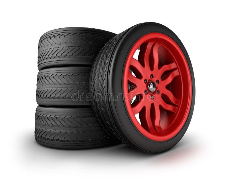 Nouvel ensemble de roues illustration stock