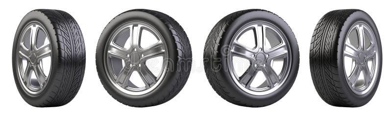 Nouvel ensemble de roues de voiture illustration libre de droits