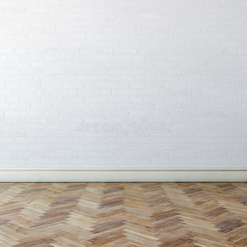 Nouvel intérieur avec le mur blanc et le parquet classique photos libres de droits