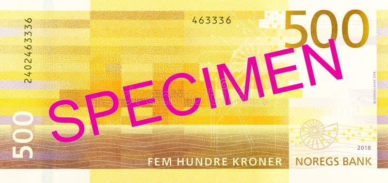 Nouvel inverse de billet de banque de la couronne 500 norvégienne photographie stock