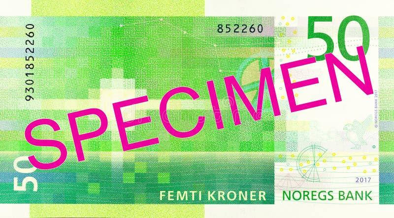 Nouvel inverse de billet de banque de la couronne 50 norvégienne photographie stock libre de droits