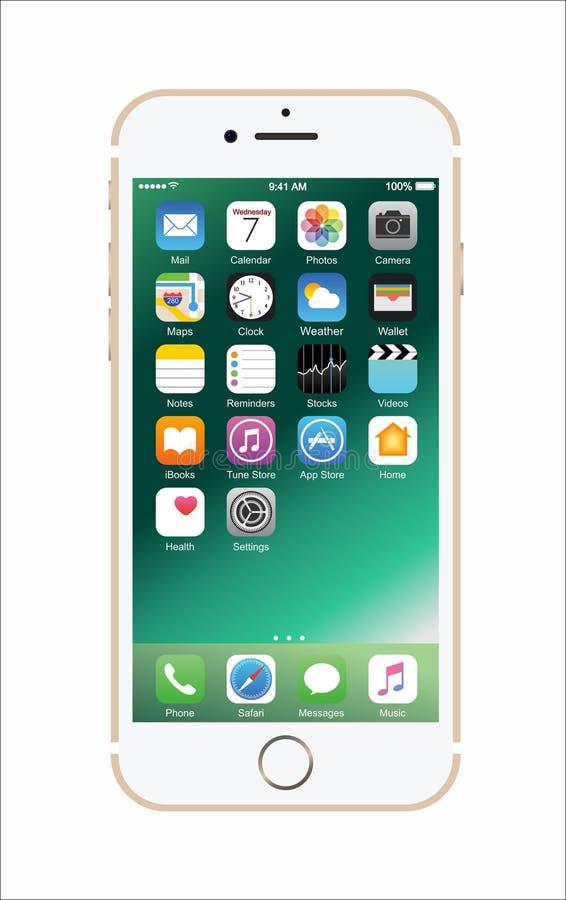 Nouvel iPhone blanc de couleur or 7 image libre de droits
