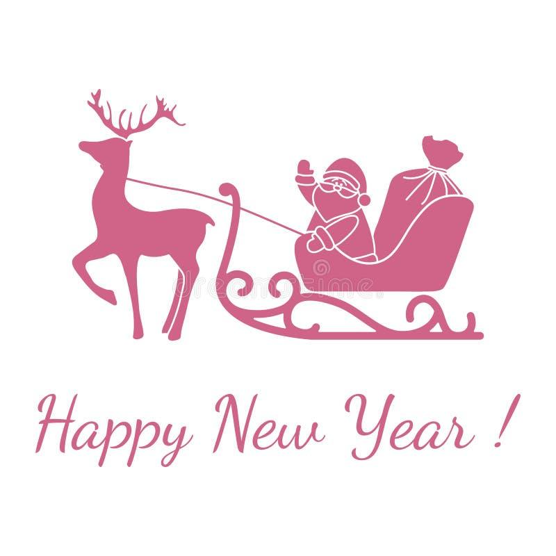 Nouvel An 2020, Joyeux Noël au Père Noël, cerf illustration stock