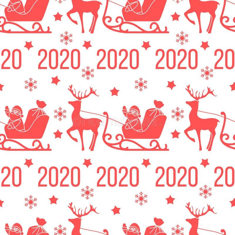Nouvel An 2020, Joyeux Noël illustration libre de droits