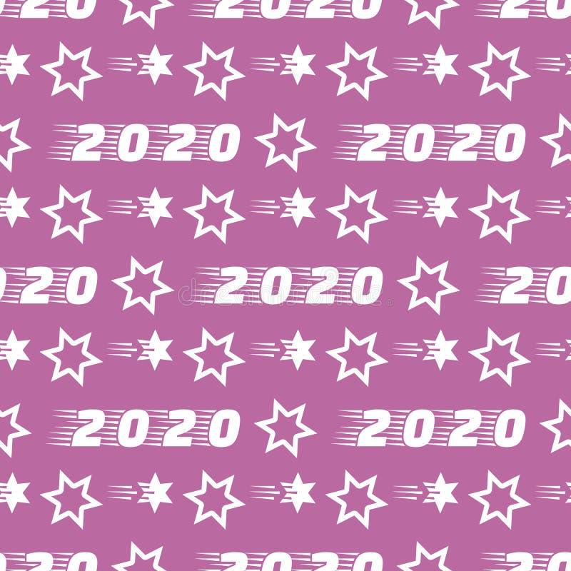 Nouvel An 2020, Noël sans couture Stars illustration stock
