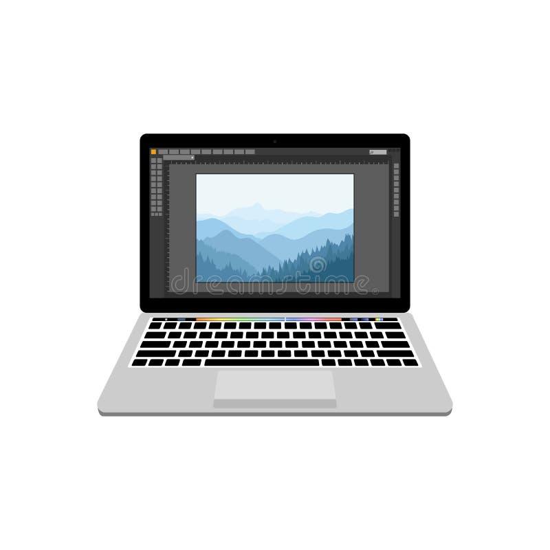 Nouvel ordinateur portable avec la photographie traitant le rédacteur illustration de vecteur