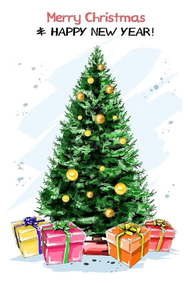 Nouvelle année élégante tirée par la main réglée avec l'arbre de sapin, boîte-cadeau, boules d'arbre de sapin de nouvelle année D illustration de vecteur