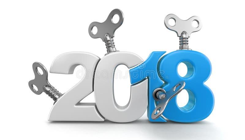 Nouvelle année 2018 avec des clés d'enroulement illustration stock