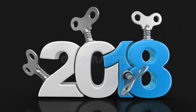 Nouvelle année 2018 avec des clés d'enroulement illustration libre de droits