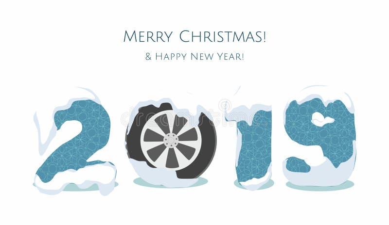 Nouvelle année 2019 avec la roue de voiture, nombre bleu d'année d'isolement sur le fond blanc illustration de vecteur