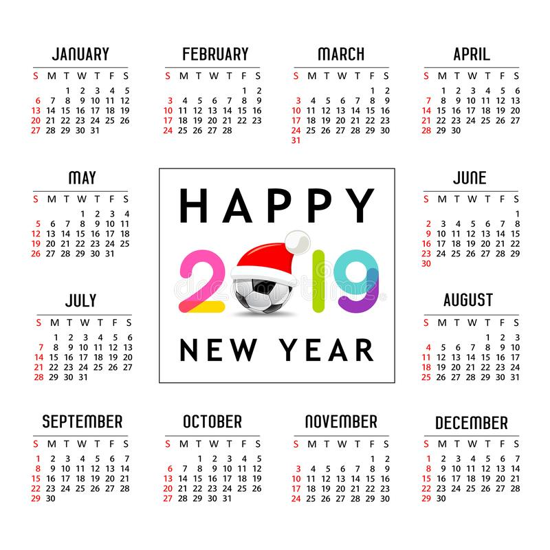 Nouvelle année 2019, chapeau de calendrier de Santa sur la conception de calibre de ballon de football illustration libre de droits