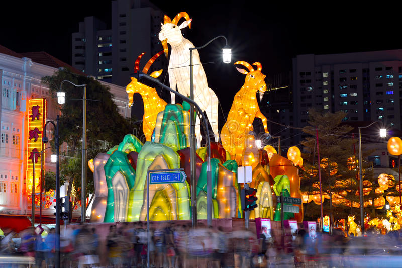 Nouvelle année chinoise avec les décorations chèvre-orientées photographie stock libre de droits
