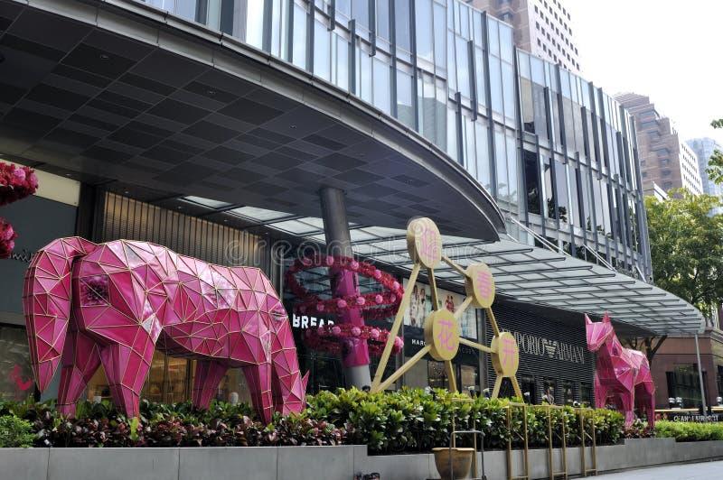 Nouvelle année chinoise avec les décorations cheval-orientées photographie stock
