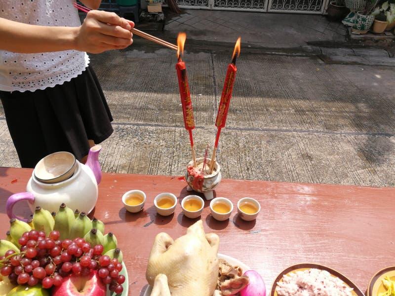 Nouvelle année chinoise de offre sacrificatoire image stock