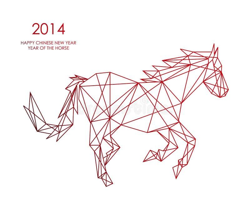 Nouvelle année chinoise du dossier de forme de Web de triangle de cheval. illustration de vecteur