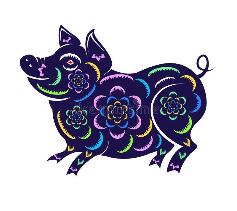 Nouvelle année chinoise heureuse 2019 ans du porc an neuf lunaire illustration stock