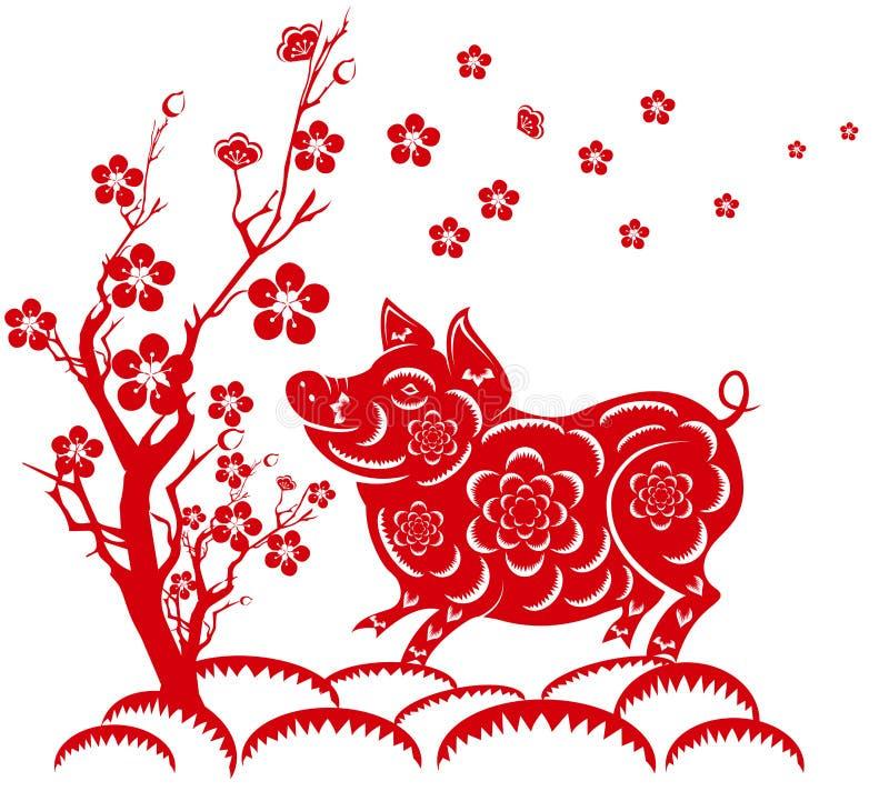 Nouvelle année chinoise heureuse 2019 ans du porc an neuf lunaire illustration libre de droits