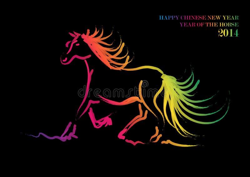 Nouvelle année chinoise heureuse du cheval 2014 illustration de vecteur