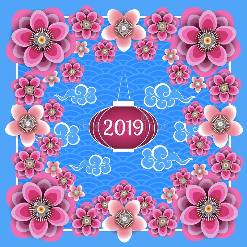Nouvelle année chinoise 2019 Lanterne chinoise, fleurs chinoises de nuages, de prune et de pêche Vue, fond bleu avec le modèle illustration stock