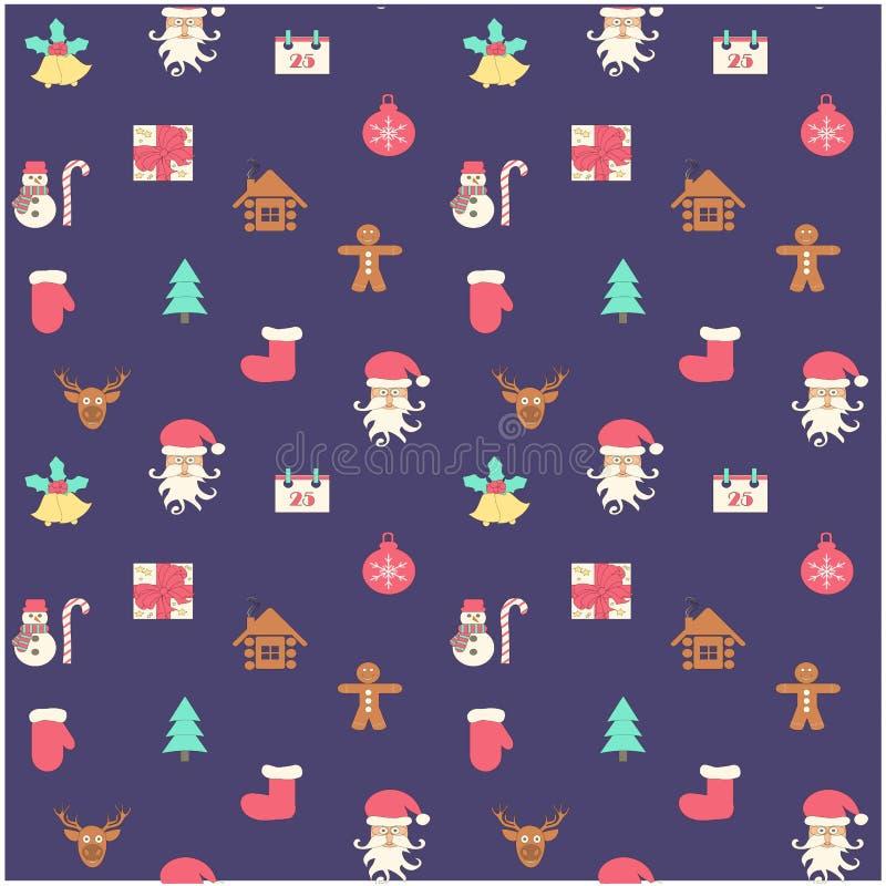 Nouvelle année colorée sans couture, fond de Noël avec Santa Claus, cerf commun, boîte-cadeau illustration de vecteur