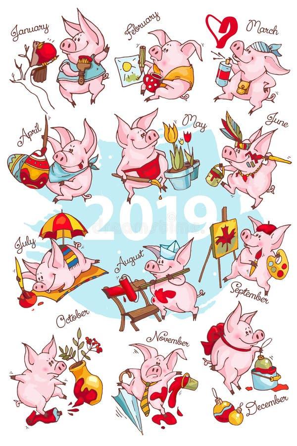Nouvelle année 2019 Couverture de calendrier Calendrier créatif avec les porcs mignons Concept, calibre editable vertical de vect illustration de vecteur