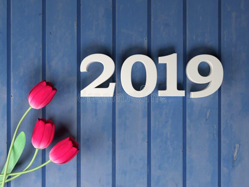 Nouvelle année 2019 - 3D a rendu l'image illustration stock