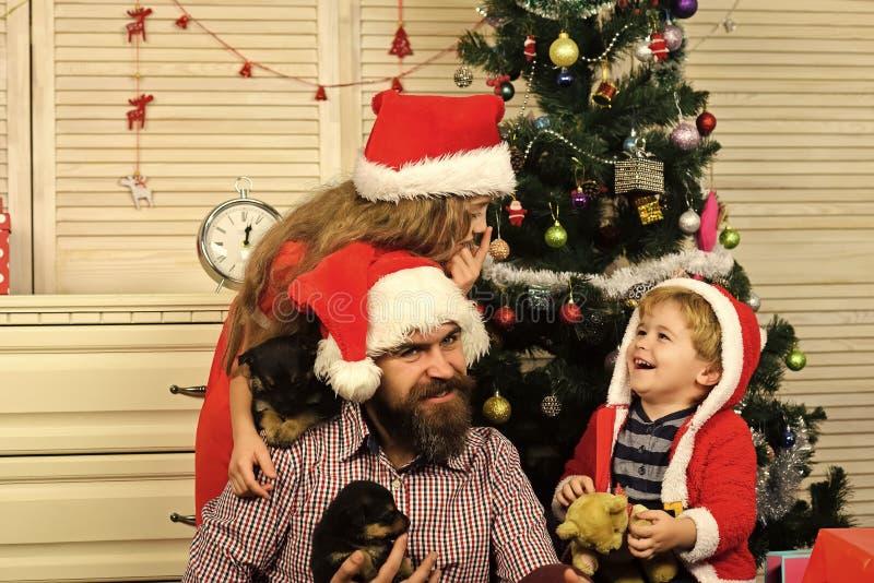Nouvelle année de chien, enfants de Noël heureux, père avec le chiot photo libre de droits