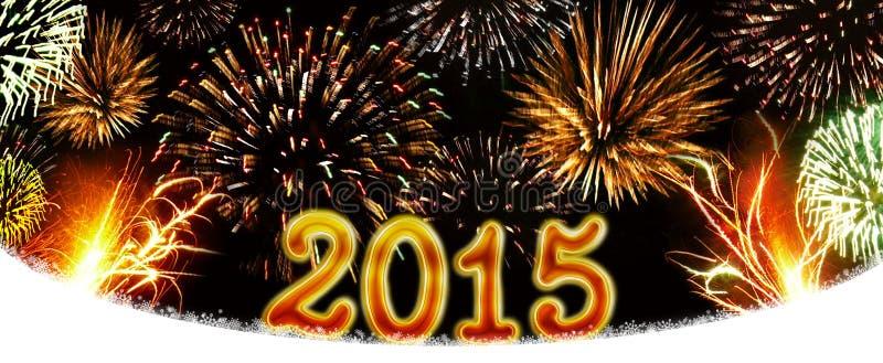 Nouvelle année 2015 de feux d'artifice image stock