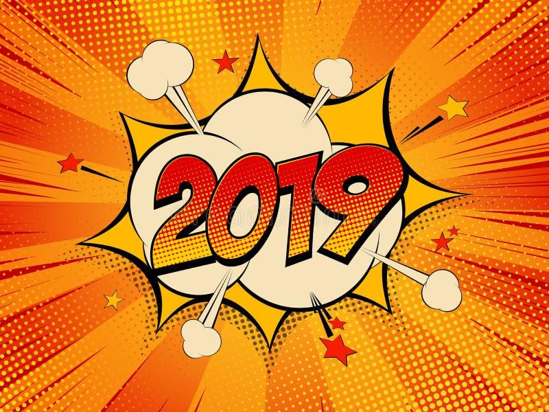 Nouvelle année 2019 de gare de gare illustration de vecteur