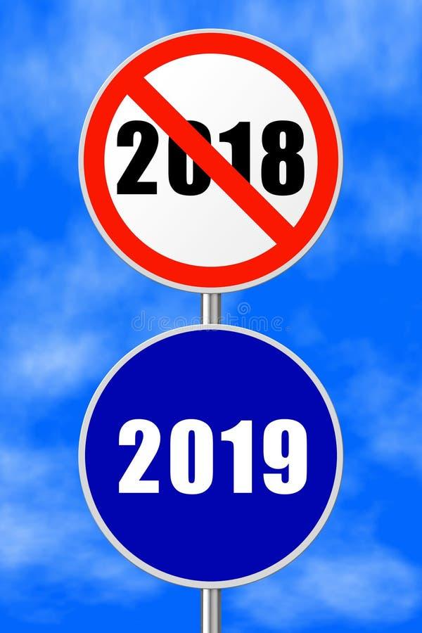 Nouvelle année 2019 de signe rond illustration de vecteur