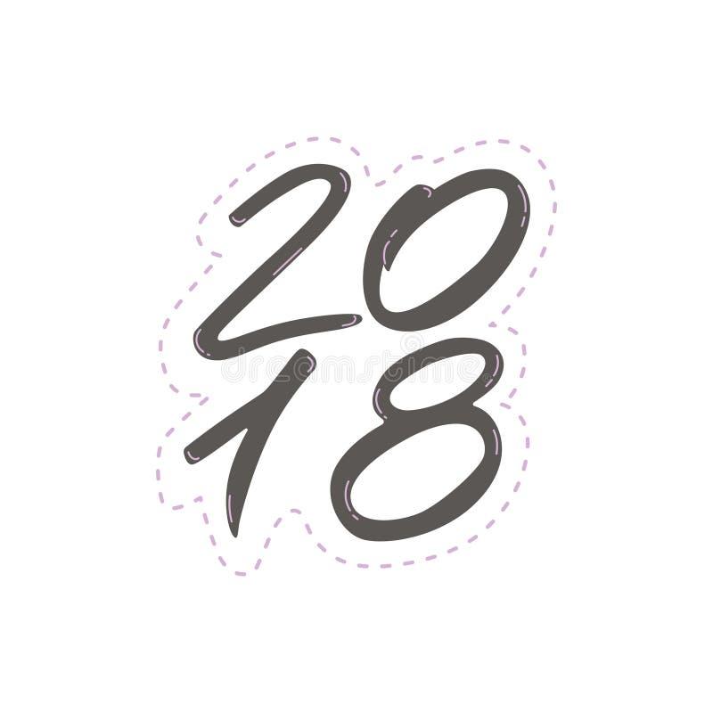 2018 - nouvelle année de symboles Illustration d'encre de lettrage de vacances illustration de vecteur