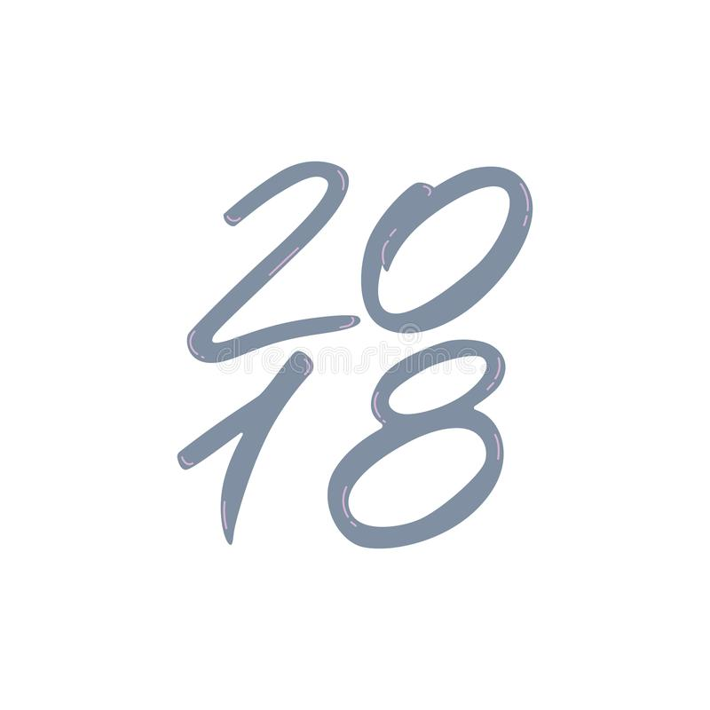2018 - nouvelle année de symboles Illustration d'encre de lettrage de vacances illustration stock