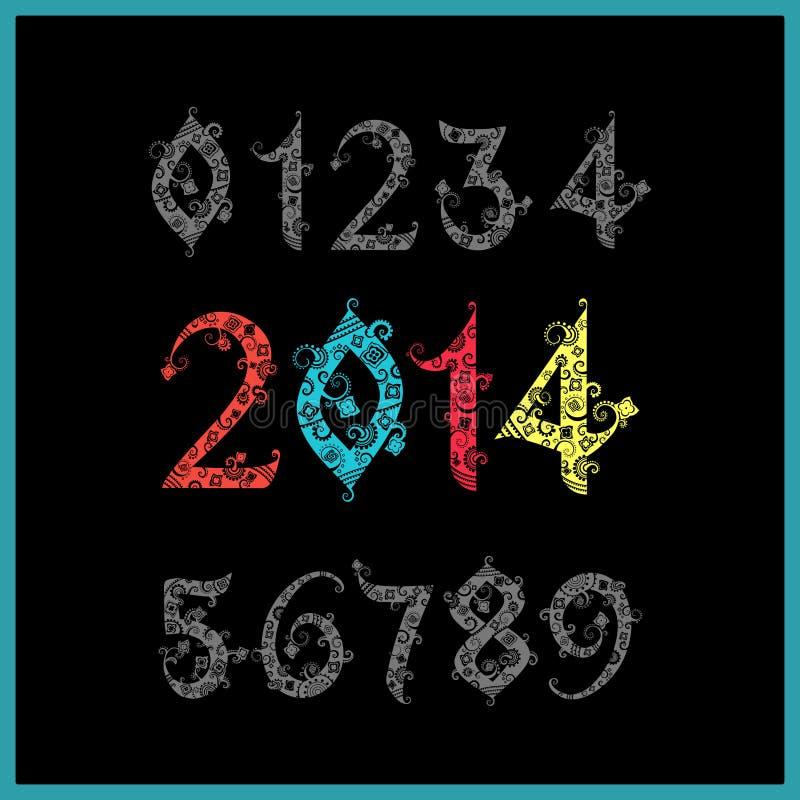 Nouvelle année 2014 de vecteur (deux mille et treize) L'ensemble de stylisent illustration de vecteur