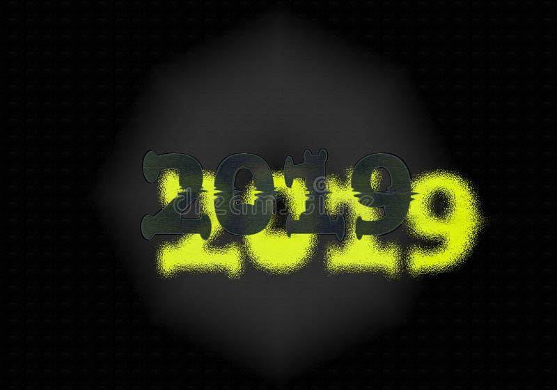 Nouvelle année 2019 Double écriture photographie stock libre de droits