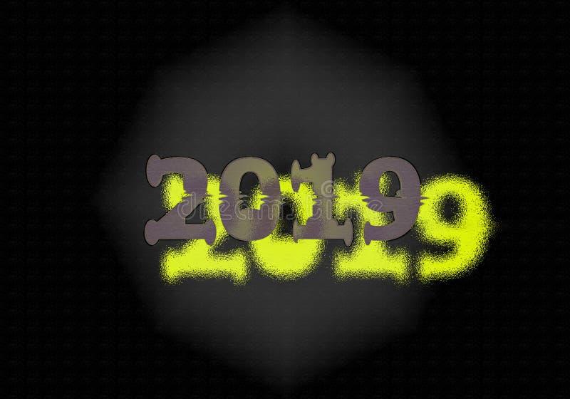 Nouvelle année 2019 Double écriture photographie stock