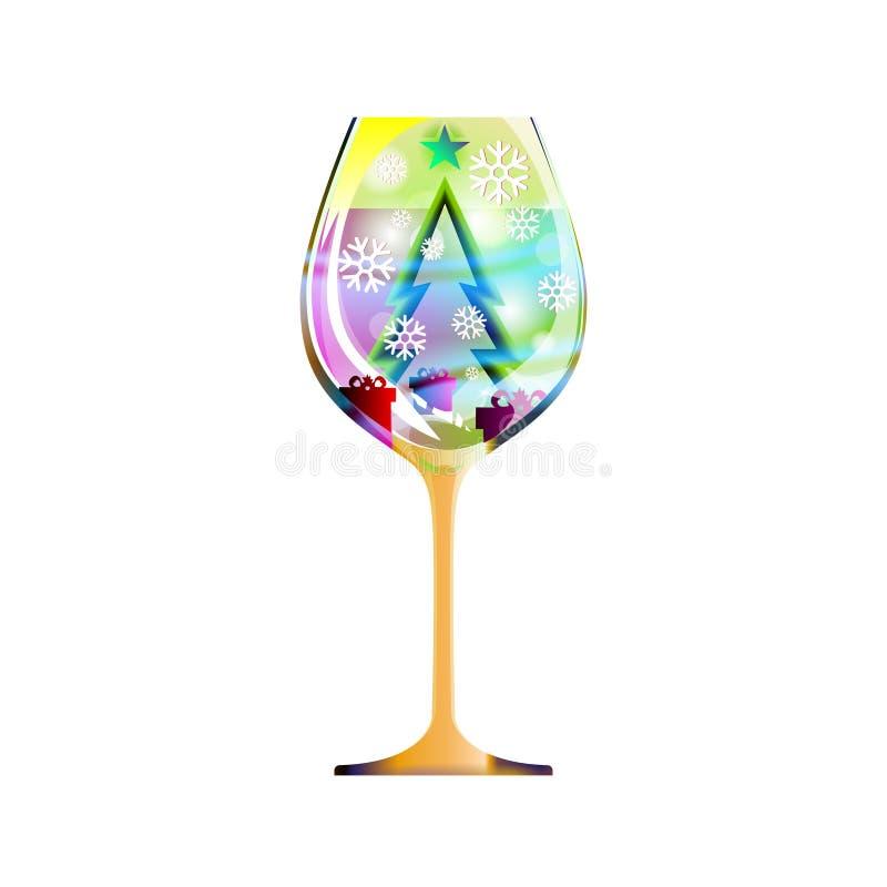 Nouvelle année en verre avec l'arbre et les ornements de Noël verts modernes de résumé des flocons de neige de clignotement Dirig illustration libre de droits