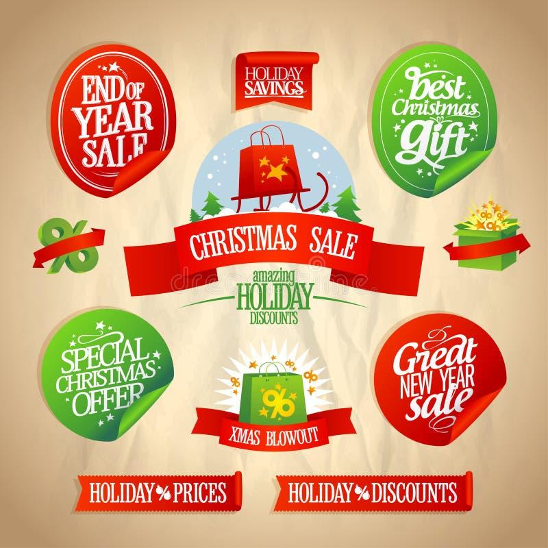 Nouvelle année et collection de conceptions de vente de Noël. illustration libre de droits