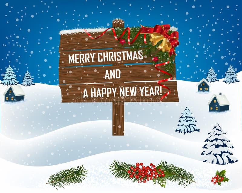 Nouvelle année et conception de salutations de Noël illustration stock