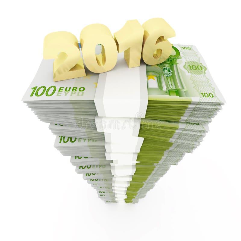 Nouvelle année 2016 et euro pile illustration de vecteur
