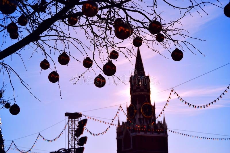 Nouvelle année et Kreml image libre de droits