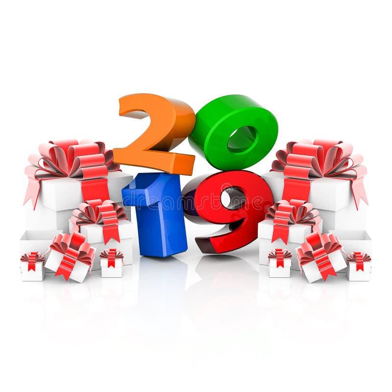 Nouvelle année 2019 illustration 3D images stock