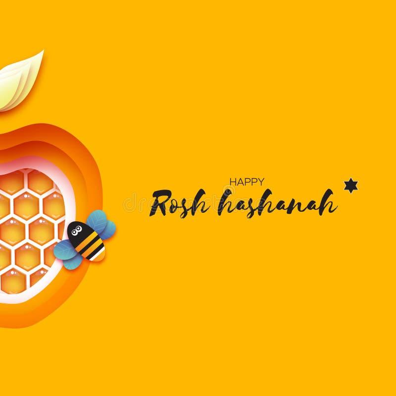 Nouvelle année juive, carte de voeux de Rosh Hashanah Apple forment avec la cellule d'or de miel et l'abeille de miel en papier a illustration libre de droits
