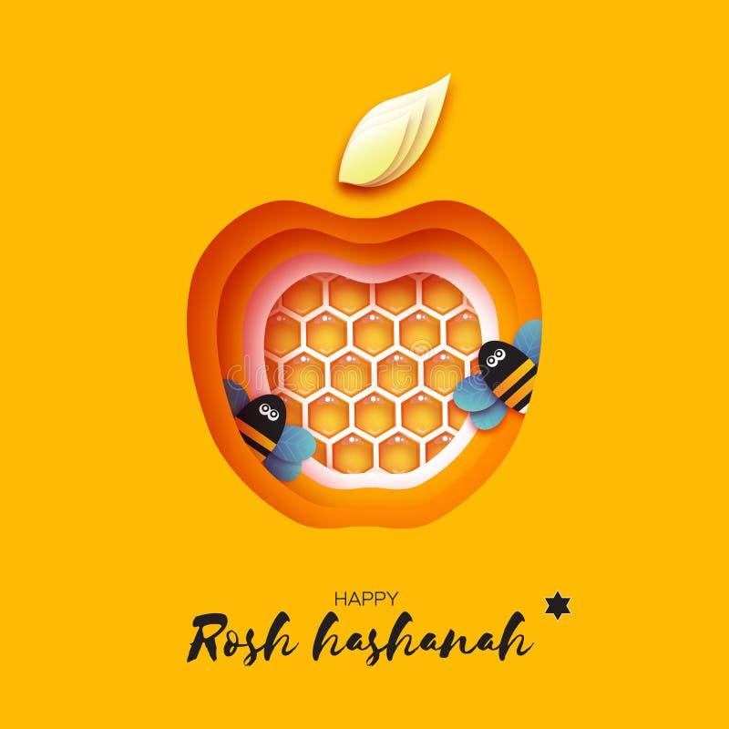 Nouvelle année juive, carte de voeux de Rosh Hashanah Apple forment avec la cellule d'or de miel et l'abeille de miel en papier a illustration stock