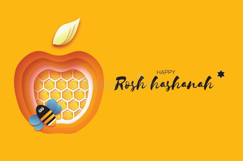 Nouvelle année juive, carte de voeux de Rosh Hashanah Apple forment avec la cellule d'or de miel et l'abeille de miel en papier a illustration de vecteur