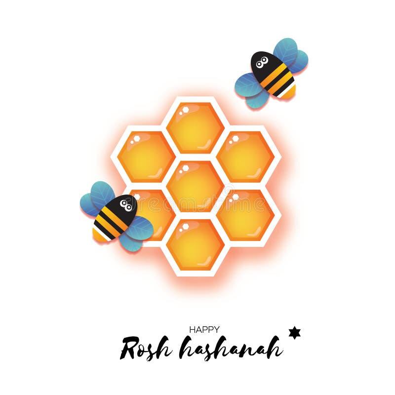 Nouvelle année juive, carte de voeux de Rosh Hashanah Cellule et Honey Bee d'or de miel d'hexagone d'origami dans le style de cou illustration de vecteur