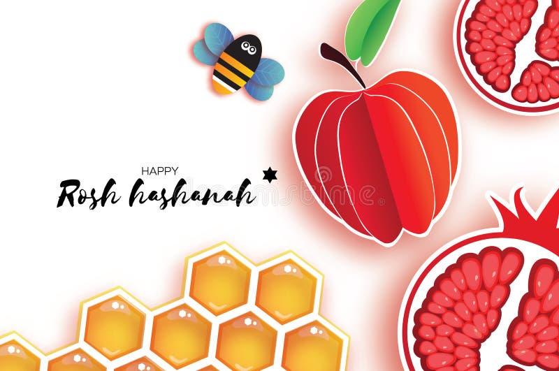 Nouvelle année juive, Rosh Hashanah Style de coupe de papier d'Apple vacances Vecteur illustration stock